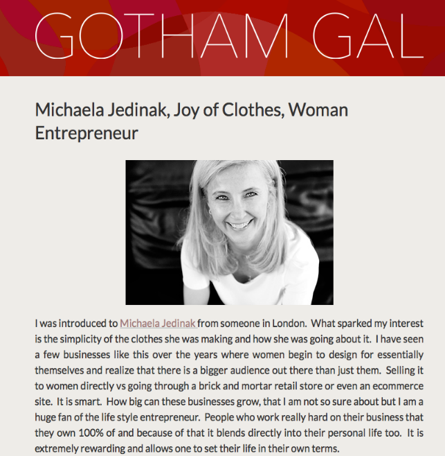 Joanne Wilson writes about Michaela Jedinak in Gotham Gal